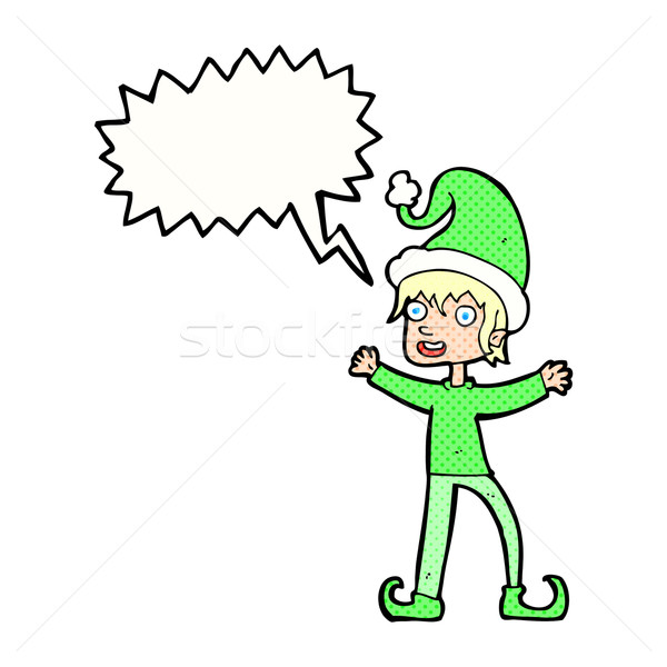 Cartoon opgewonden christmas elf tekstballon hand Stockfoto © lineartestpilot
