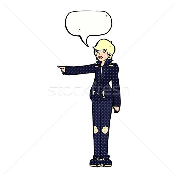 Cartoon vrouw wijzend tekstballon hand Stockfoto © lineartestpilot