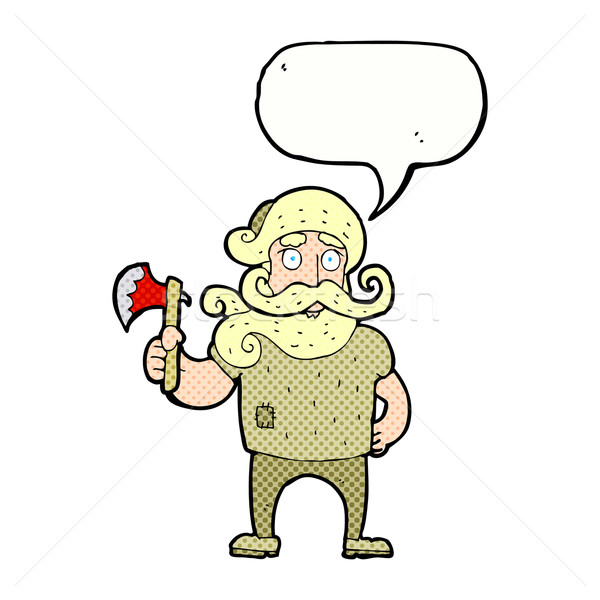 cartoon lumberjack with axe with speech bubble Stock photo © lineartestpilot