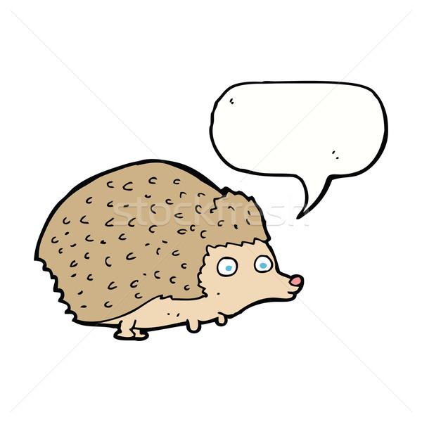 cartoon hedgehog with speech bubble Stock photo © lineartestpilot
