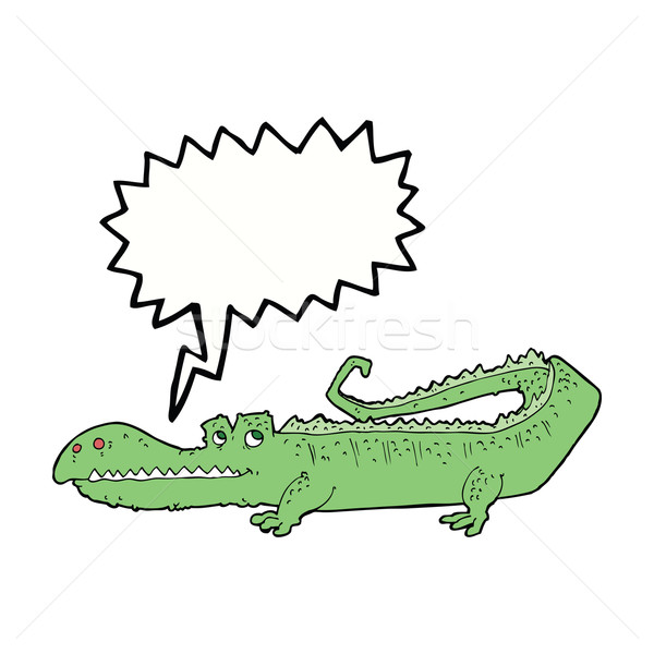 Cartoon crocodile bulle main design animaux Photo stock © lineartestpilot