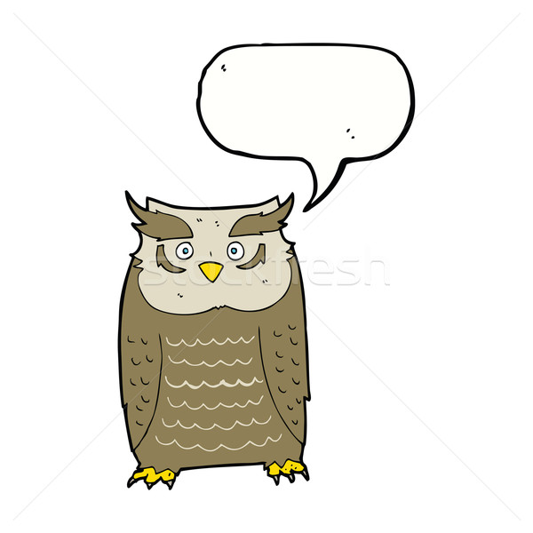 Cartoon uil tekstballon hand ontwerp vogel Stockfoto © lineartestpilot
