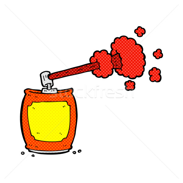 Cômico desenho animado aerossol spray lata retro Foto stock © lineartestpilot