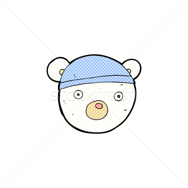 comic cartoon polar bear cub wearing hat Stock photo © lineartestpilot