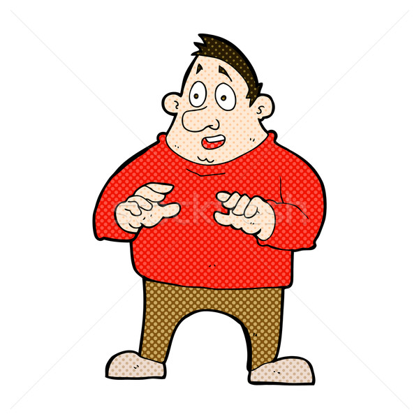 comic cartoon excited overweight man Stock photo © lineartestpilot