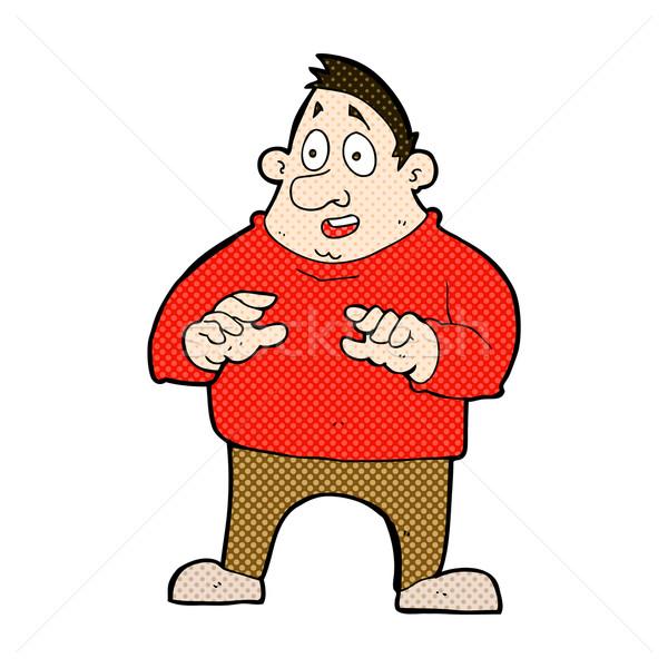 комического Cartoon возбужденный избыточный вес человека ретро Сток-фото © lineartestpilot