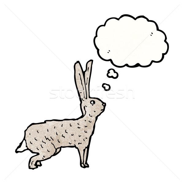 Illusztrált nyúl gondolatbuborék beszél retro gondolkodik Stock fotó © lineartestpilot