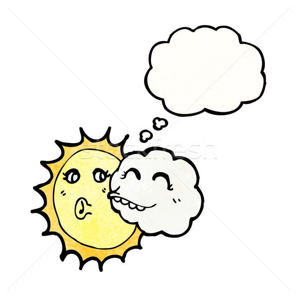 Photo stock: Cartoon · nuage · soleil · parler · rétro · pense
