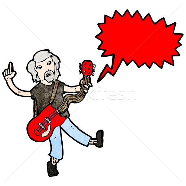 Rajz elektromos gitár játékos gitár beszél retro Stock fotó © lineartestpilot
