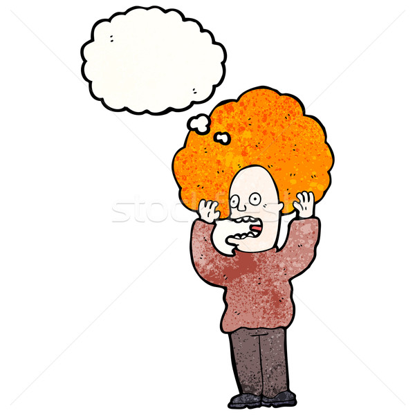 cartoon man with huge ginger hair freaking out Stock photo © lineartestpilot