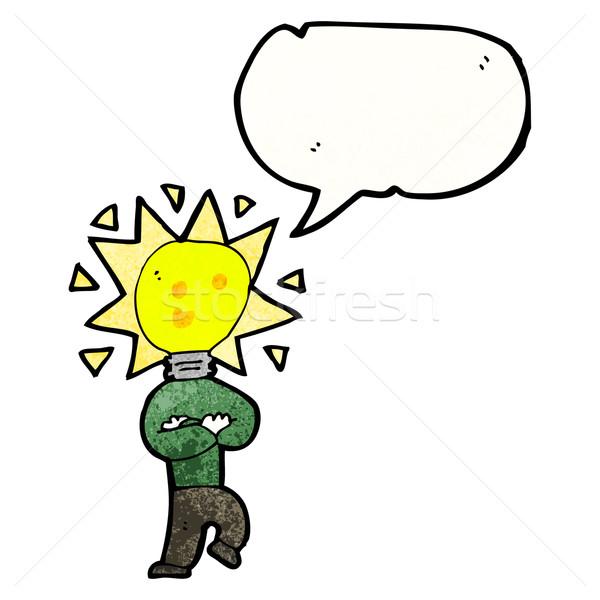 Cartoon pomysł żarówka człowiek retro tekstury Zdjęcia stock © lineartestpilot