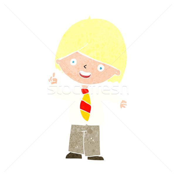 cartoon school boy answering question Stock photo © lineartestpilot