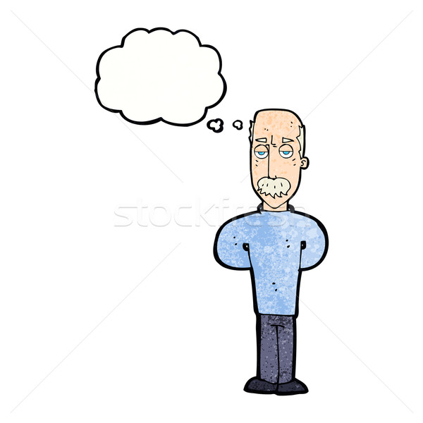 cartoon annoyed balding man with thought bubble Stock photo © lineartestpilot