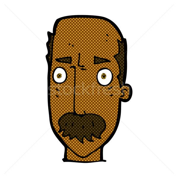 Komische cartoon geërgerd oude man retro Stockfoto © lineartestpilot