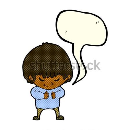 Képregény rajz félénk fiú retro képregény Stock fotó © lineartestpilot
