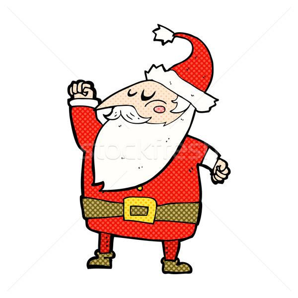 comic cartoon santa claus punching air Stock photo © lineartestpilot