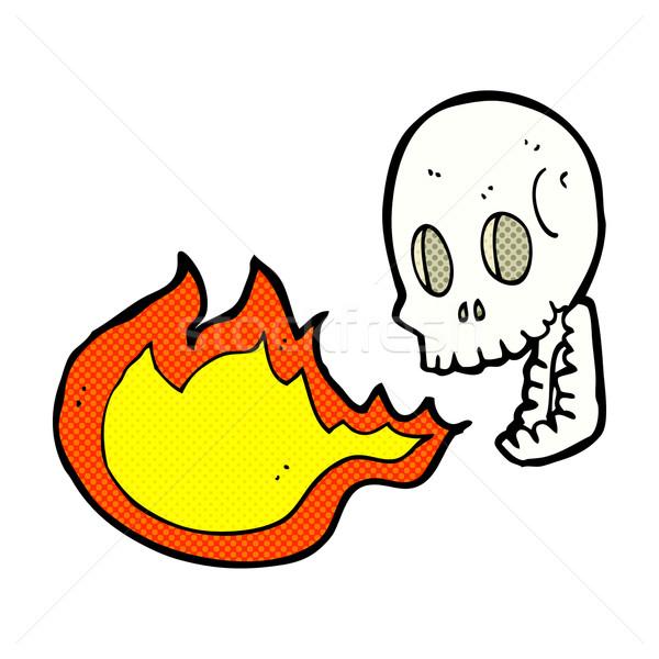 Cómico Cartoon fuego respiración cráneo retro Foto stock © lineartestpilot