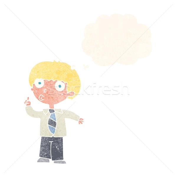 Rajz iskolás fiú kérdés gondolatbuborék kéz férfi Stock fotó © lineartestpilot