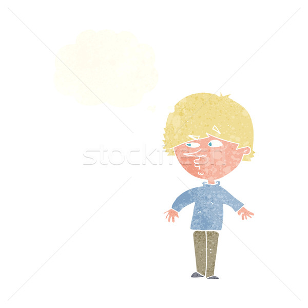 cartoon suspicious man looking over shoulder with thought bubble Stock photo © lineartestpilot