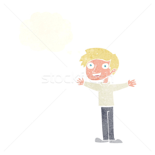 cartoon enthusiastic man with thought bubble Stock photo © lineartestpilot