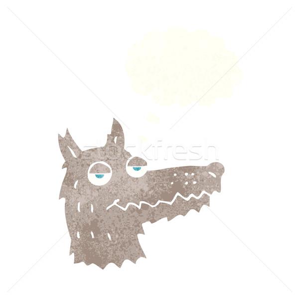 Cartoon lupo testa bolla di pensiero mano design Foto d'archivio © lineartestpilot