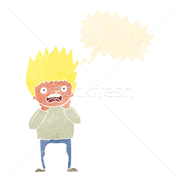 cartoon man panicking with speech bubble Stock photo © lineartestpilot