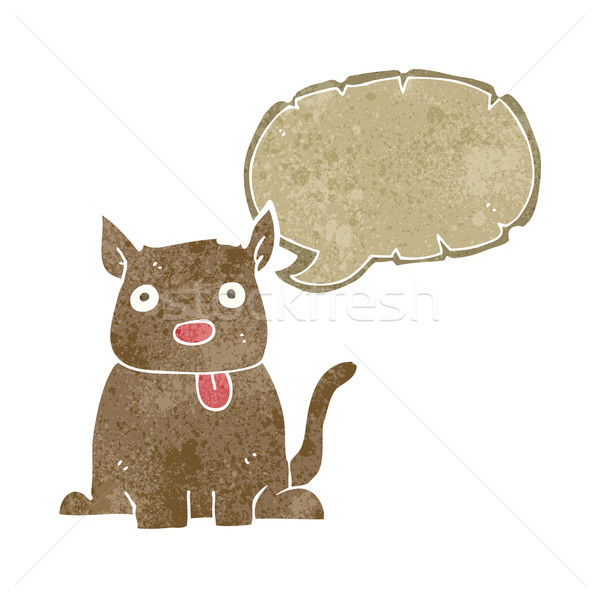 cartoon dog sticking out tongue with speech bubble Stock photo © lineartestpilot