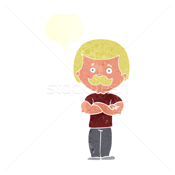 cartoon manly mustache man with speech bubble Stock photo © lineartestpilot