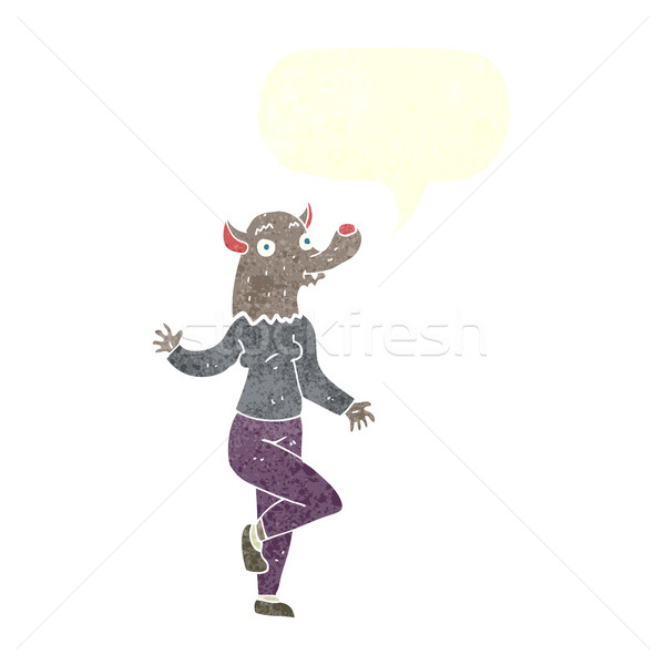 漫画 ダンス 狼 女性 吹き出し 手 ストックフォト © lineartestpilot