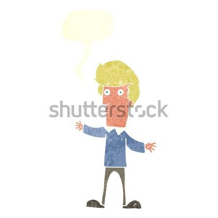 cartoon curious man with speech bubble Stock photo © lineartestpilot