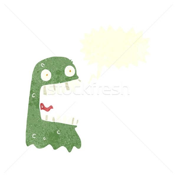 Desenho animado fantasma balão de fala mão projeto louco Foto stock © lineartestpilot