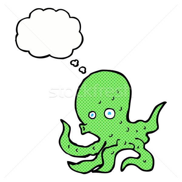 Cartoon осьминога мысли пузырь стороны дизайна искусства Сток-фото © lineartestpilot
