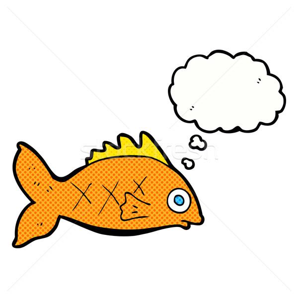 Desenho animado peixe balão de pensamento mão projeto animais Foto stock © lineartestpilot