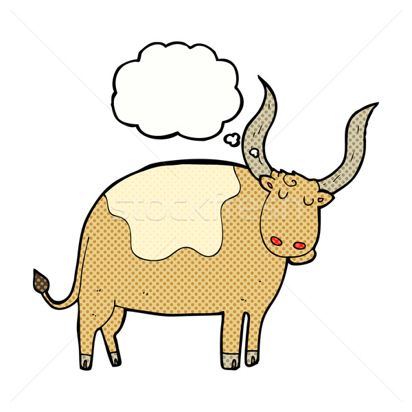 Stock photo: cartoon ox with thought bubble
