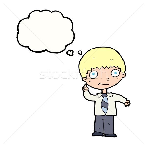 Cartoon школьник Идея мысли пузырь стороны дизайна Сток-фото © lineartestpilot