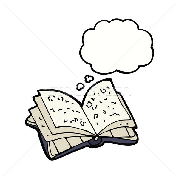 Cartoon открытой книгой мысли пузырь стороны дизайна библиотека Сток-фото © lineartestpilot