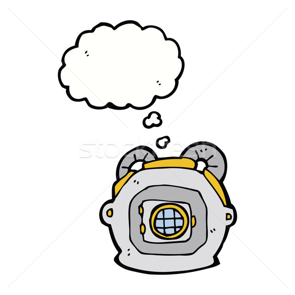 cartoon old deep sea diver helmet with thought bubble Stock photo © lineartestpilot