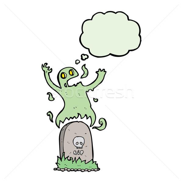 Cartoon fantôme grave bulle de pensée main Photo stock © lineartestpilot