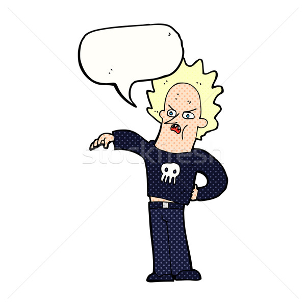 cartoon nasty boy with speech bubble Stock photo © lineartestpilot