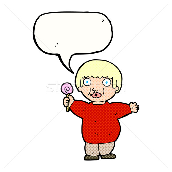 cartoon fat child with speech bubble Stock photo © lineartestpilot