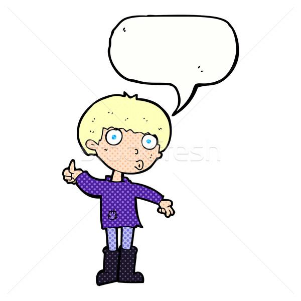 Desenho animado menino pergunta balão de fala mão Foto stock © lineartestpilot
