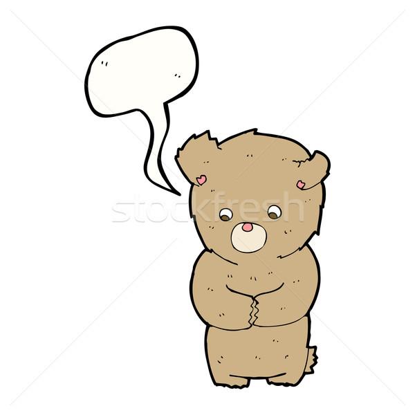Cartoon tímido osito de peluche bocadillo mano diseno Foto stock © lineartestpilot