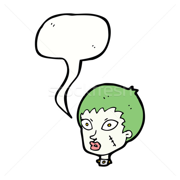 cartoon female zombie head with speech bubble Stock photo © lineartestpilot