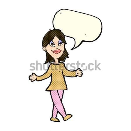 comic cartoon woman with no worries Stock photo © lineartestpilot