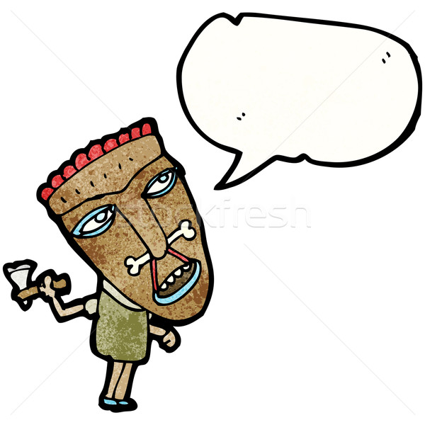 cartoon shaman tribesman Stock photo © lineartestpilot