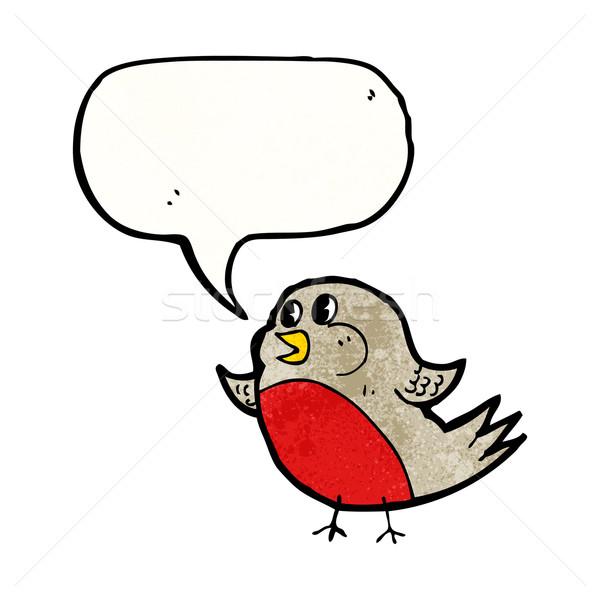 robin with speech bubble cartoon Stock photo © lineartestpilot