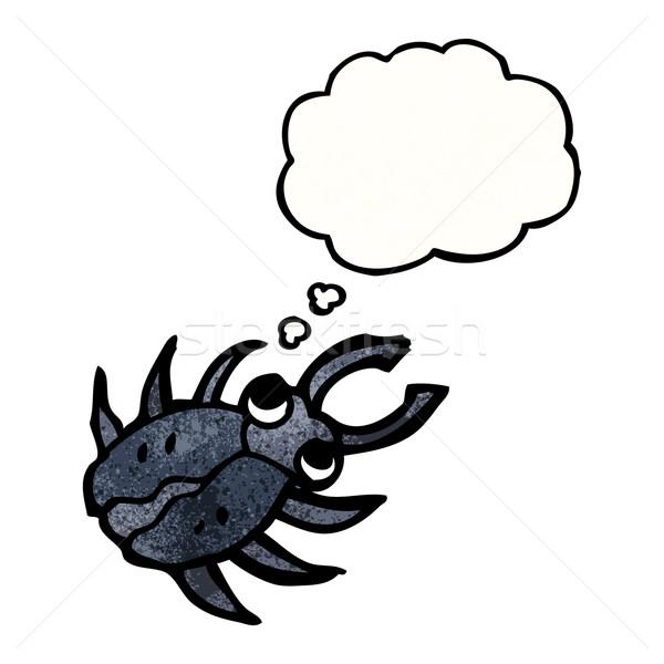 Desenho animado bicho falante retro pensando desenho Foto stock © lineartestpilot