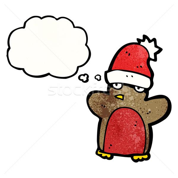 funny christmas robin cartoon Stock photo © lineartestpilot