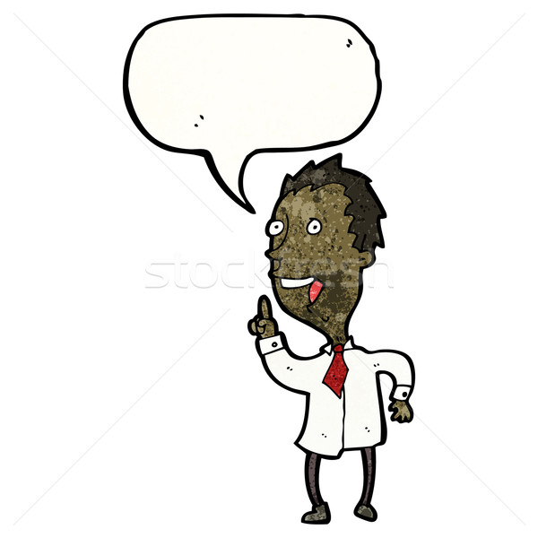 enthusiastic man with speech bubble cartoon Stock photo © lineartestpilot