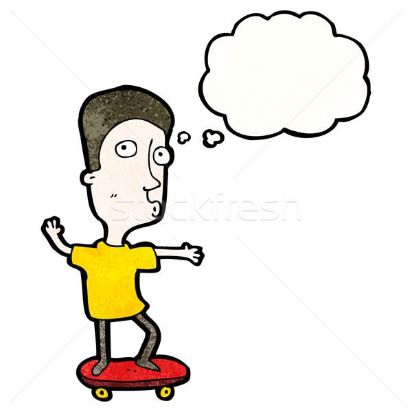 Cartoon фигурист мальчика искусства ретро мышления Сток-фото © lineartestpilot